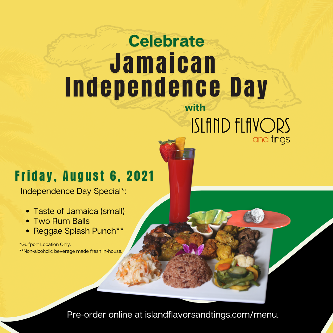 Celebrate Jamaican Independence Day with Island Flavors and Tings August 6 2021 with the Taste of Jamaica, Rum Balls and Reggae Rum Punch as shown in picture with outline of Jamaica